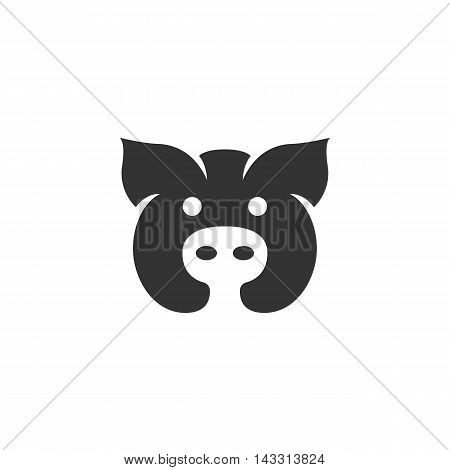 Pig logo silhouette design template isolated on a white background. Simple concept icon for web, mobile and infographics. Abstract symbol, sign, pictogram, illustration - stock vector