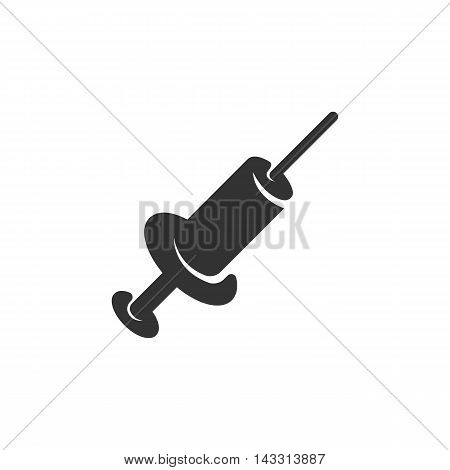 Syringe logo silhouette design template isolated on a white background. Simple concept icon for web, mobile and infographics. Abstract symbol, sign, pictogram, illustration - stock vector