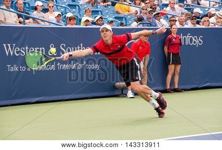 Mason Ohio - August 15 2016: Sam Querrey in a first round match at the Western and Southern Open in Mason Ohio on August 15 2016.