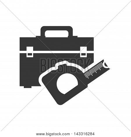 meter tool kit box repair construction silhouette icon. Flat and Isolated design. Vector illustration