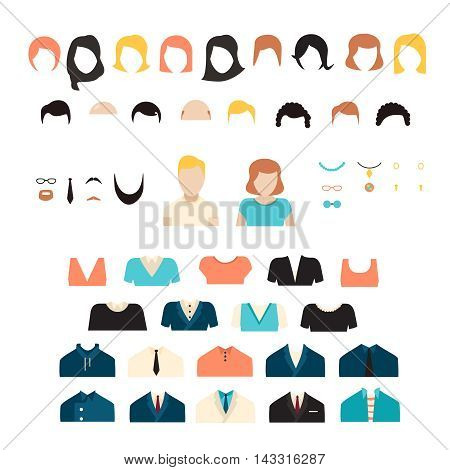 Big girl and boy stylish kit, vector girl and boy characters avatars constructor. Big vector set of dress up constructor with different student girl haircuts, glasses, wear in trendy flat style.