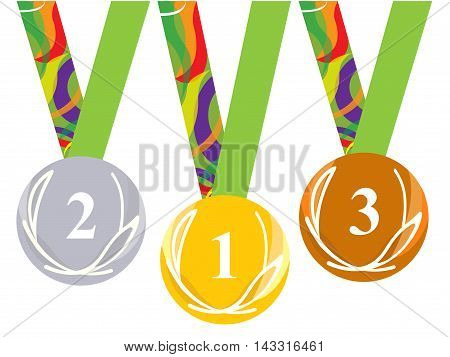 Gold medal icon. Silver medal icon. Bronze medal icon. Medal set. white background