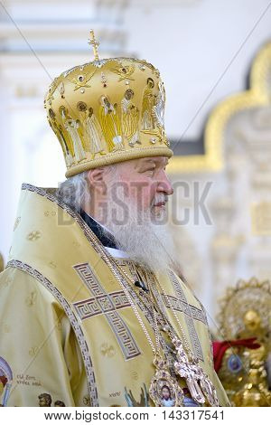 Kiev Ukraine celebration liturgy in honor of the baptism of Rus in Kiev Pechersk Lavra - 27 July 2013 -: Portrait of Patriarch Kirill Gundyaeva profile closeup