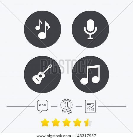 Music icons. Microphone karaoke symbol. Music notes and acoustic guitar signs. Chat, award medal and report linear icons. Star vote ranking. Vector