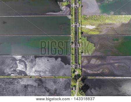 Waste Water Treatment Plant - Groups Of Storage Tanks With Waste Water. View From Above.
