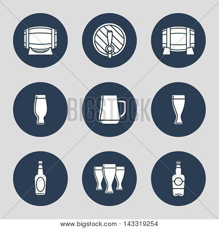 Beer icons set with glasses bottles barrels. Vector illustration