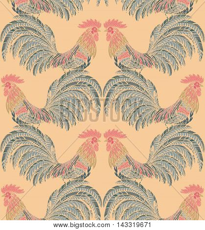 Colorful seamless pattern with hand drawn fiery roosters in doodle ornate style. Beautiful vector endless background. Symbol of the new year