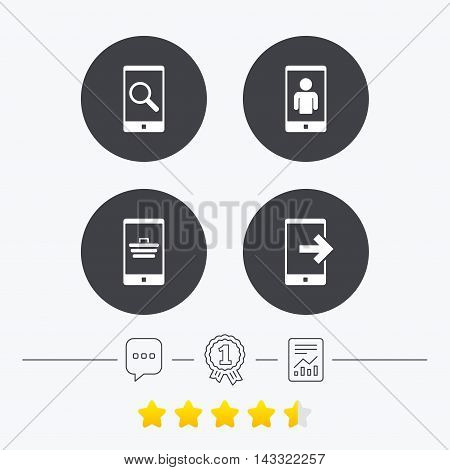 Phone icons. Smartphone video call sign. Search, online shopping symbols. Outcoming call. Chat, award medal and report linear icons. Star vote ranking. Vector