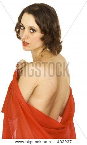 Beautiful Brunette In A Red Shawl