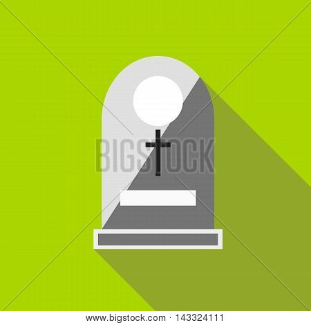 Sepulchral monument icon in flat style with long shadow. Death symbol