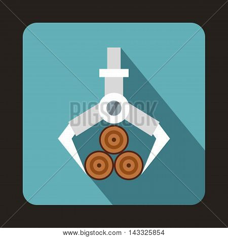 Hydraulic crane with log icon in flat style with long shadow. Felling symbol