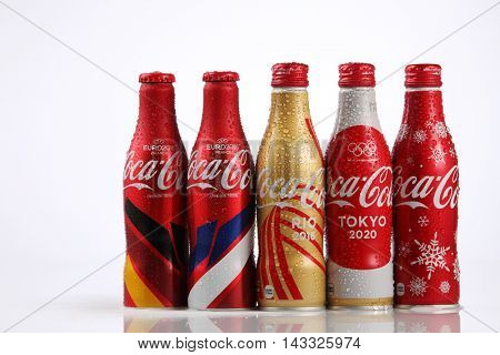 Kuala Lumpur,Malaysia,8th Aug 2016,collection of  Coca Cola europe cup,olympic rio 2016 and tokyo 2020 and others  aluminium bottle. Coca Cola is the official product