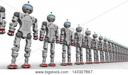 Humanoid robots standing in a row on a white surface. Isolated. 3D Illustration