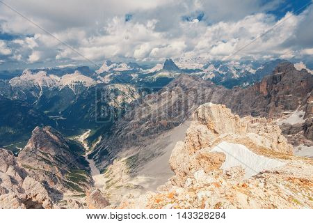 Peaks of the dolomites fom the Monte Cristallo massif in Italy
