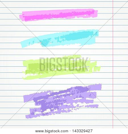 set of hand drawn highlighter elements  underlines