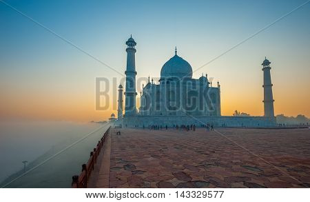 Highly detailed image of Taj Mahal at sunrise Agra India