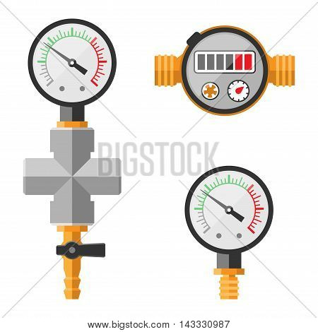 Pressure sensor manometer tool vector icon or pressure sensor on factory pipeline.