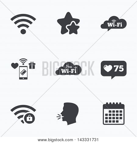 Free Wifi Wireless Network cloud speech bubble icons. Wi-fi zone locked symbols. Password protected Wi-fi sign. Flat talking head, calendar icons. Stars, like counter icons. Vector
