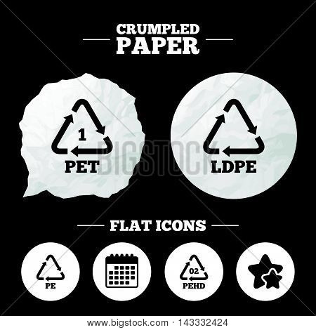 Crumpled paper speech bubble. PET, Ld-pe and Hd-pe icons. High-density Polyethylene terephthalate sign. Recycling symbol. Paper button. Vector