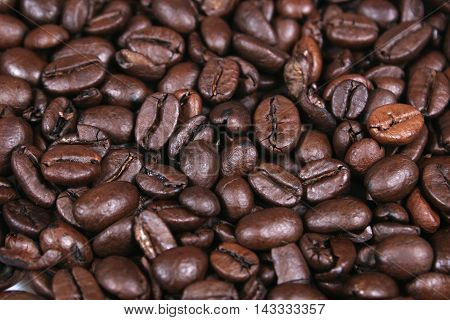 Coffee beans closeup on fullframe macro brown