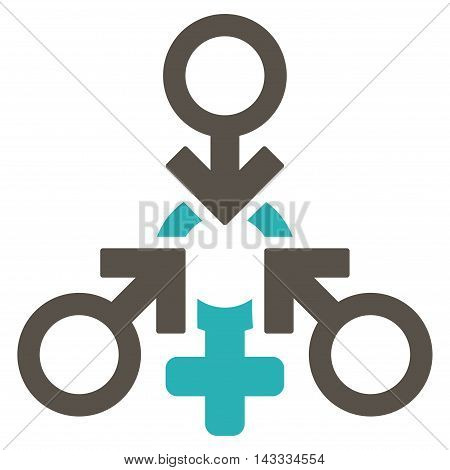 Triple Penetration Sex icon. Vector style is bicolor flat iconic symbol with rounded angles, grey and cyan colors, white background.