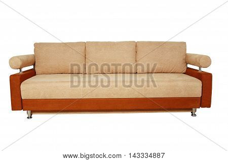 Brown Sofa With Fabric Upholstery Isolated On White Background