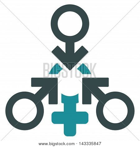 Triple Penetration Sex icon. Vector style is bicolor flat iconic symbol with rounded angles, soft blue colors, white background.