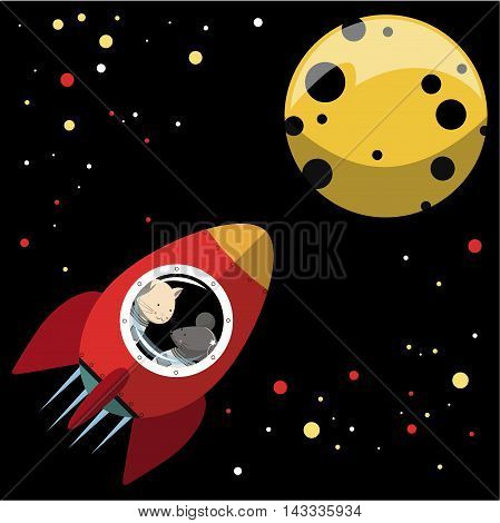 illustration. the cat and the mouse fly on a rocket to the moon .In the sky the stars Shine with different colors. Cat and mouse look out the window.