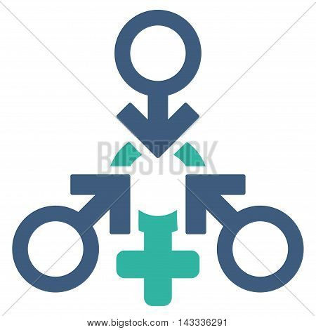 Triple Penetration Sex icon. Vector style is bicolor flat iconic symbol with rounded angles, cobalt and cyan colors, white background.