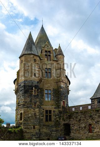 View of one of the towers of Château de Vitré in Vitre Brittany France