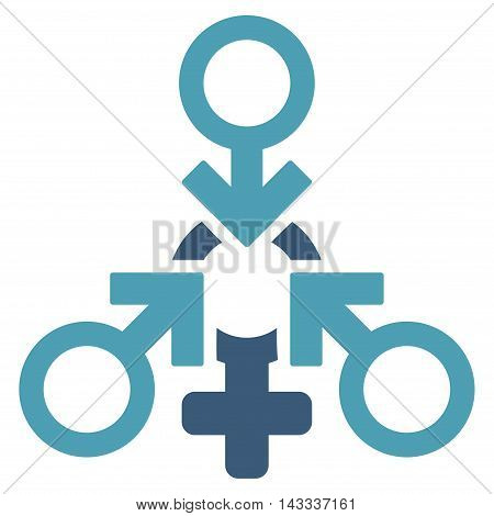 Triple Penetration Sex icon. Vector style is bicolor flat iconic symbol with rounded angles, cyan and blue colors, white background.
