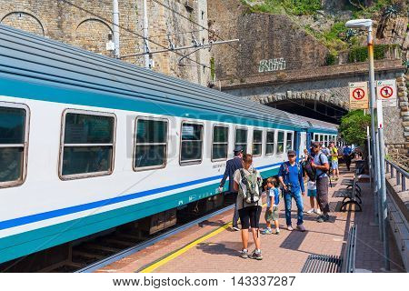 Train Station In Riomaggiore, Cinqueterre, Italy