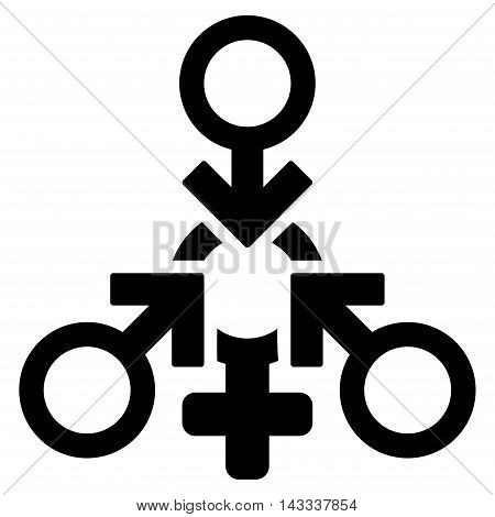 Triple Penetration Sex icon. Vector style is flat iconic symbol with rounded angles, black color, white background.