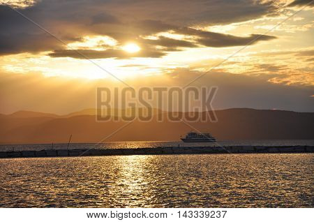 Sunset and Cruise in Lake Champlain, Burlington, Vermont, USA