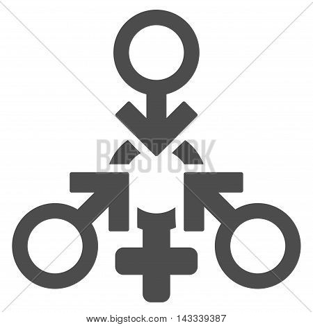 Triple Penetration Sex icon. Vector style is flat iconic symbol with rounded angles, gray color, white background.