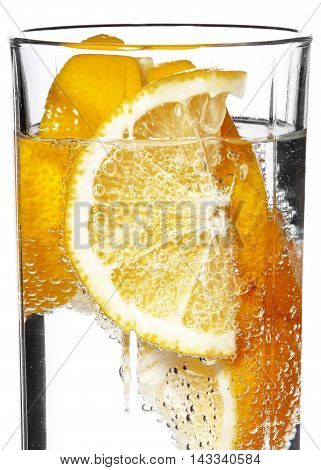 Sparkling Water With Orange Background In The Glass