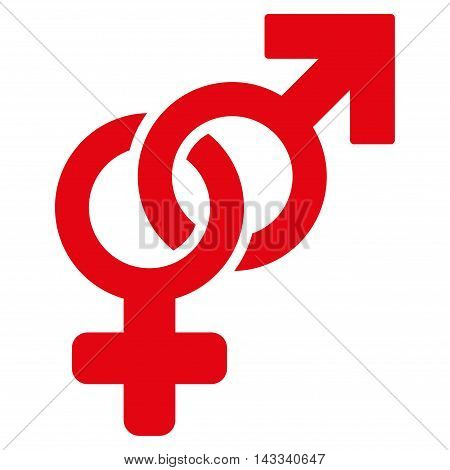 Heterosexual Symbol icon. Vector style is flat iconic symbol with rounded angles, red color, white background.