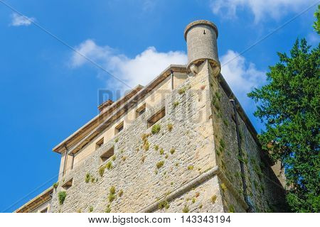 San-Marino - August, 8, 2016: medieval castle in San-Marino, one of the smallest counties in the world