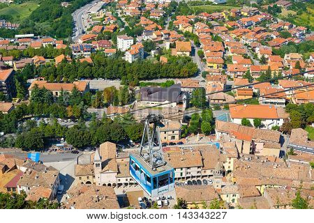 San-Marino - August, 8, 2016: Panorama with views of the surrounding area of San-Marino, one of the smallest counties in the world