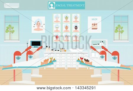 Spa facial massage treatment with ozone facial steamer on bed in spa centerinterior women facing the steam beauty conceptual vector illustration.