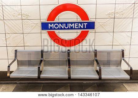 London, Uk - June 16, 2016: Logo Of An Underground Station In London. The London Underground Is The