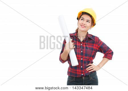 Asian Engineer Woman Thinking With Blueprints Isolated On White Background