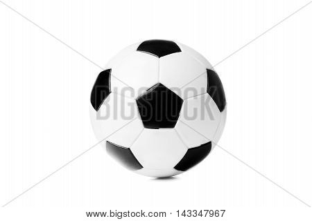 Black And White Soccer Ball Isolated On The White Background Wit