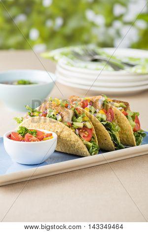 Fish Tacos Shell With Avocado Salsa