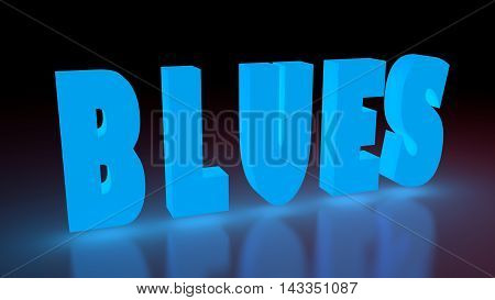 Blues music genre neon shine word on reflected surface. 3D rendering
