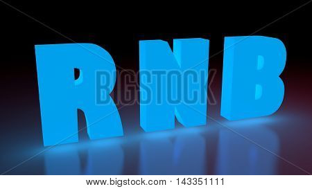 RNB music genre neon shine word on reflected surface. 3D rendering
