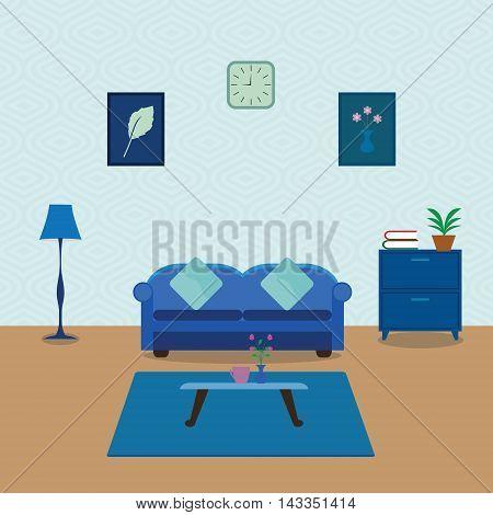 Interior of a living room. Modern flat design illustration