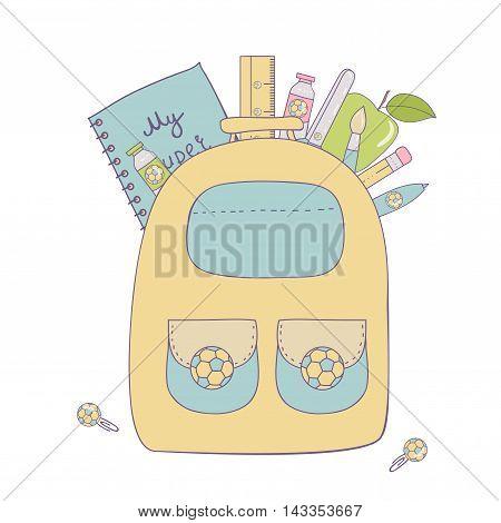 Back to school baner. Vector school isolated Illustration.