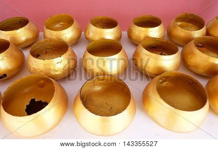 monk's bowl , gold alms bowls background