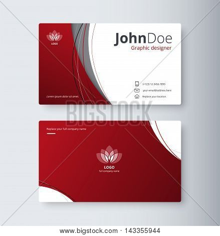 Curve Abstract Business Card Background. Name Card Template. Vector Stock.